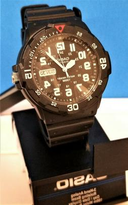 Original New Casio Men MRW200H-1BV Black Resin Dive Watch Wa