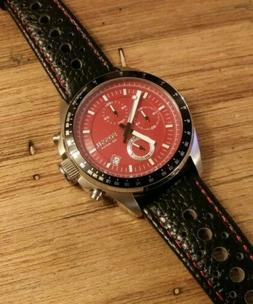 Rare RED Fossil Decker Chronograph Quartz 100 meter Mens DIV