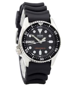 skx013k black rubber automatic watch