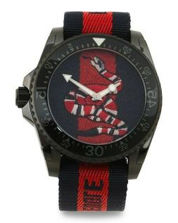 Gucci Swiss Made Snake Dial Nylon Strap Dive Watch