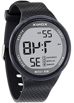 XONIX Mens Unisex LED Digital Waterproof 100m Sports Black S