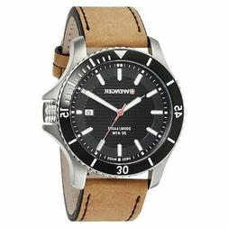 Wenger 01.0641.125 Men's Sea Force Black Dial Brown Leather