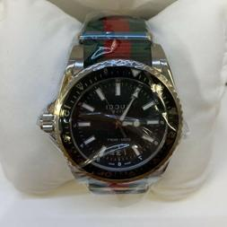 Gucci YA136206 Dive Stainless Black Dial Steel w/ Striped Ny