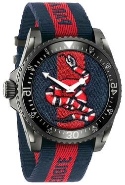 Gucci YA136214 Dive SS Snake Embroidered Dial Nylon 45mm Men