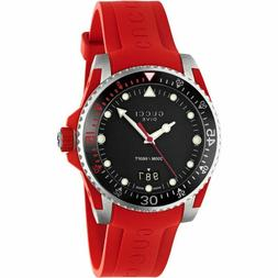 Gucci YA136309 Dive Black Dial Rubber Red 40mm Men's Watch